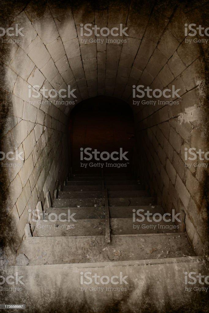 Spooky Stairway to Dark Cellar royalty-free stock photo