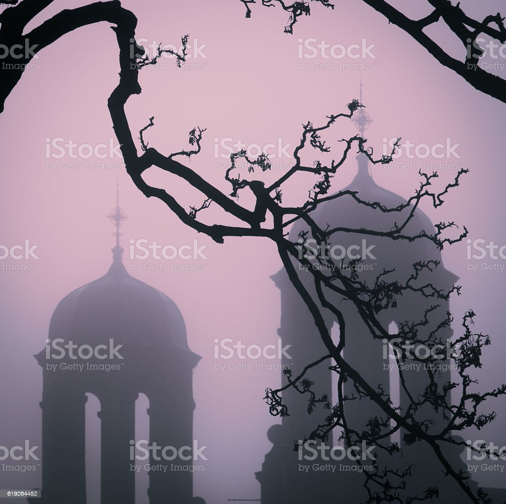 Spooky Towers In Autumn Fog stock photo