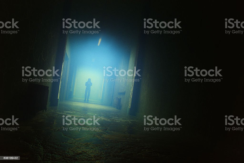Spooky underground laboratory hall stock photo