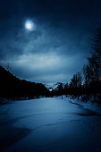 spooky winter landscape at night