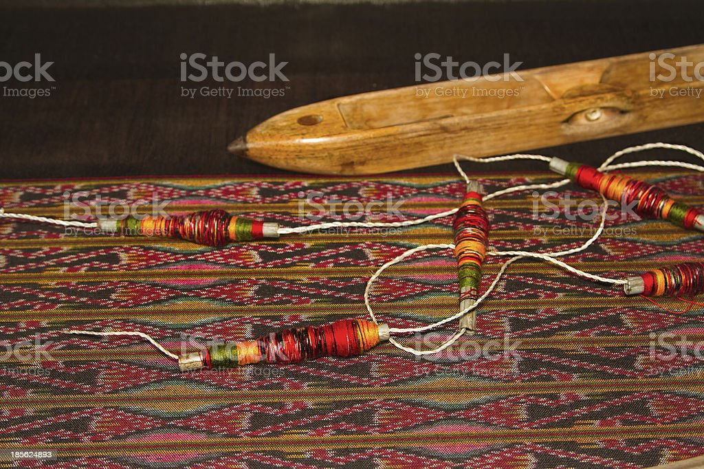 Spool of thread and wooden bobbin ,thai traditional cloth weavin royalty-free stock photo
