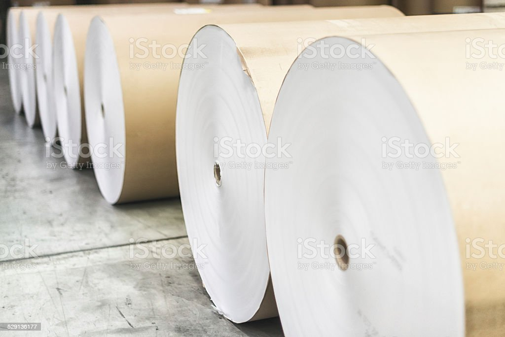 Spools of paper rolls lined up for printing press stock photo