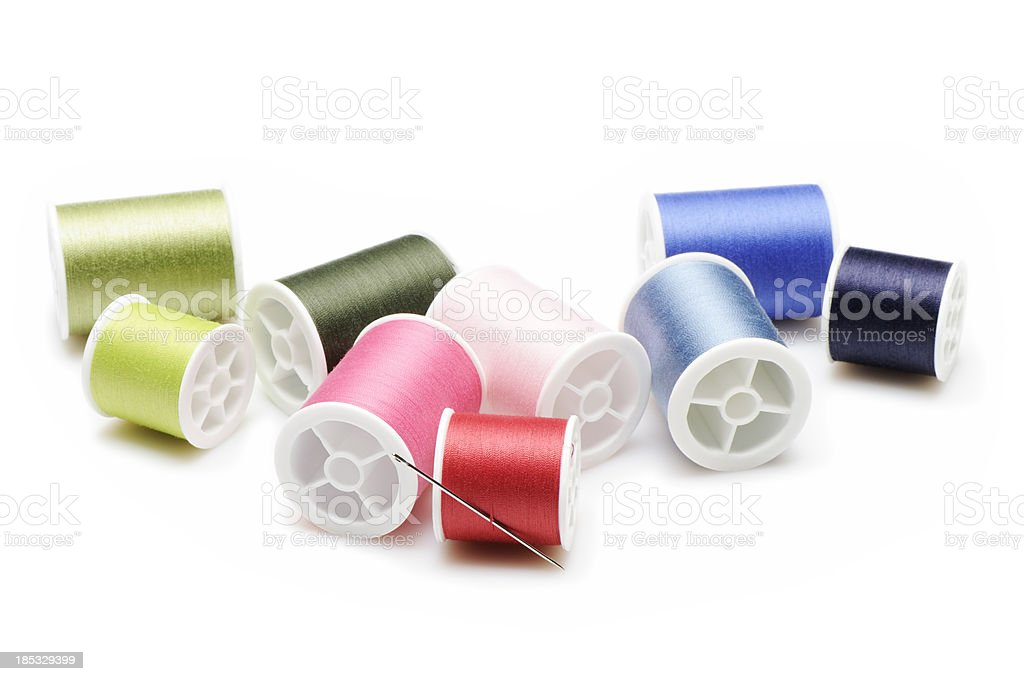 Spools of sewing threads stock photo
