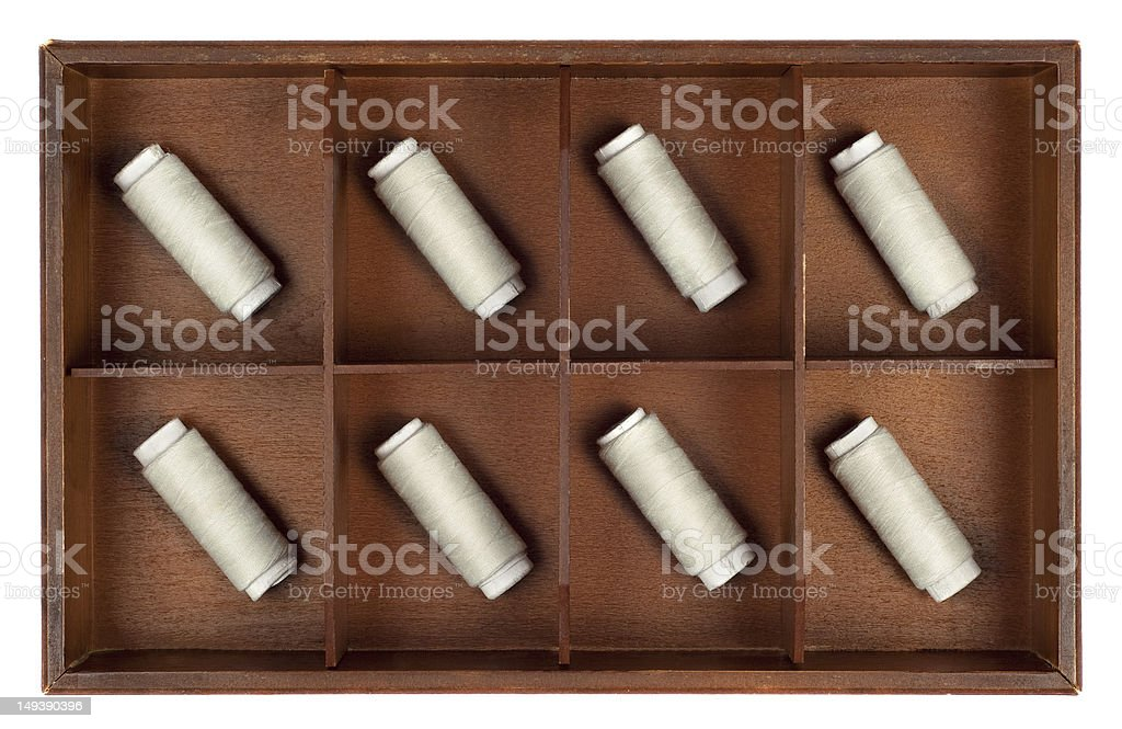 Spools of thread in a box royalty-free stock photo