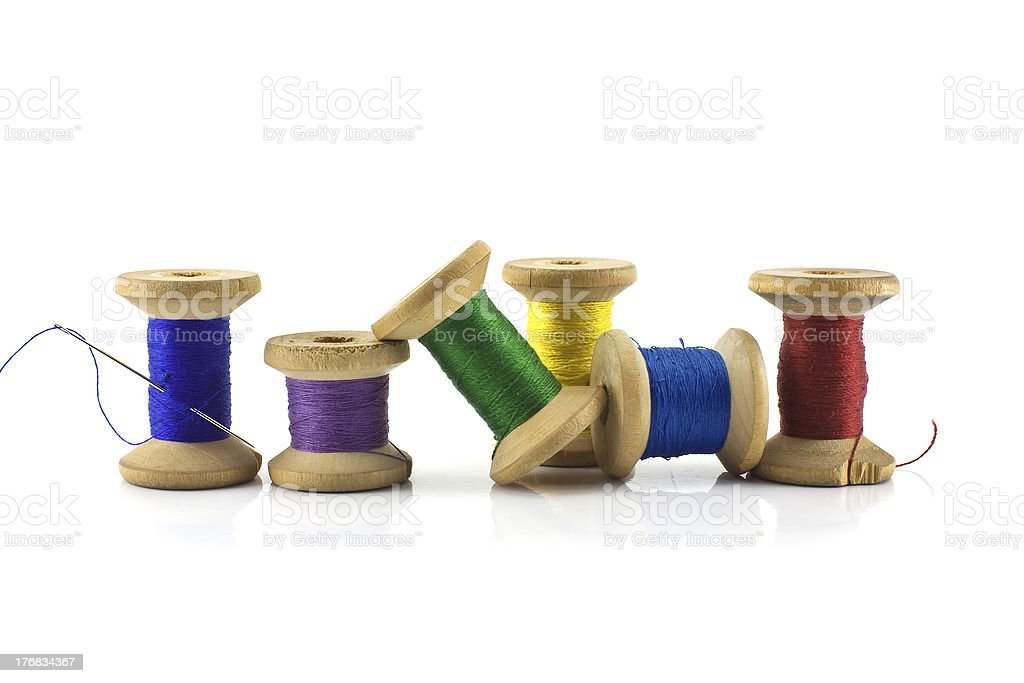 Spools of thread isolated royalty-free stock photo