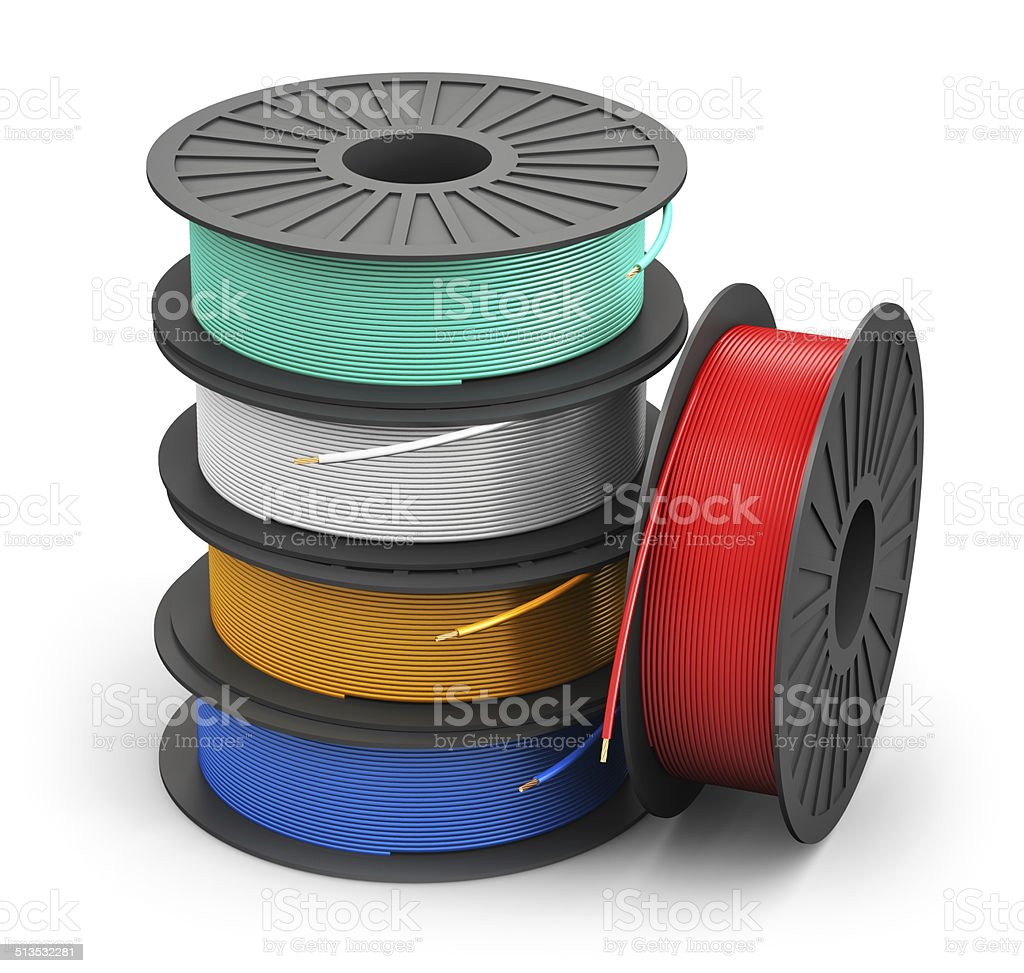 Spools with color electric power cables stock photo