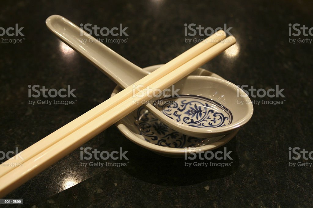 Spoon and Chopsticks royalty-free stock photo
