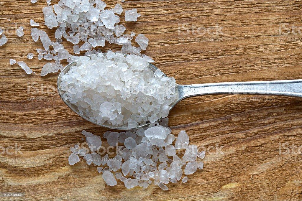 spoon and salt stock photo