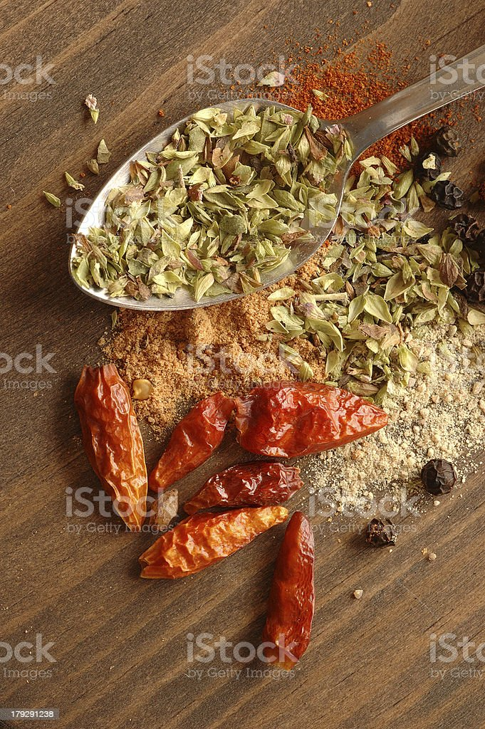 Spoon and spices royalty-free stock photo