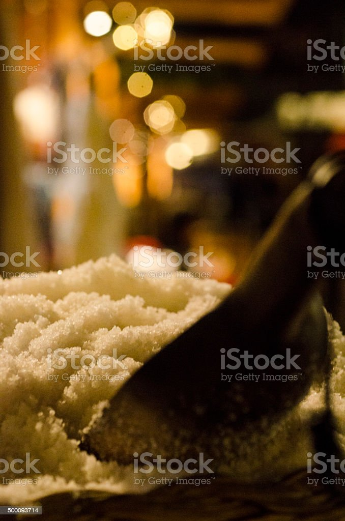 Spoon in salt at the christmas market, close up stock photo