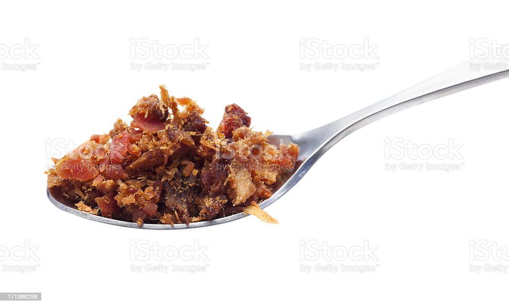 Spoon of Bacon Bits stock photo