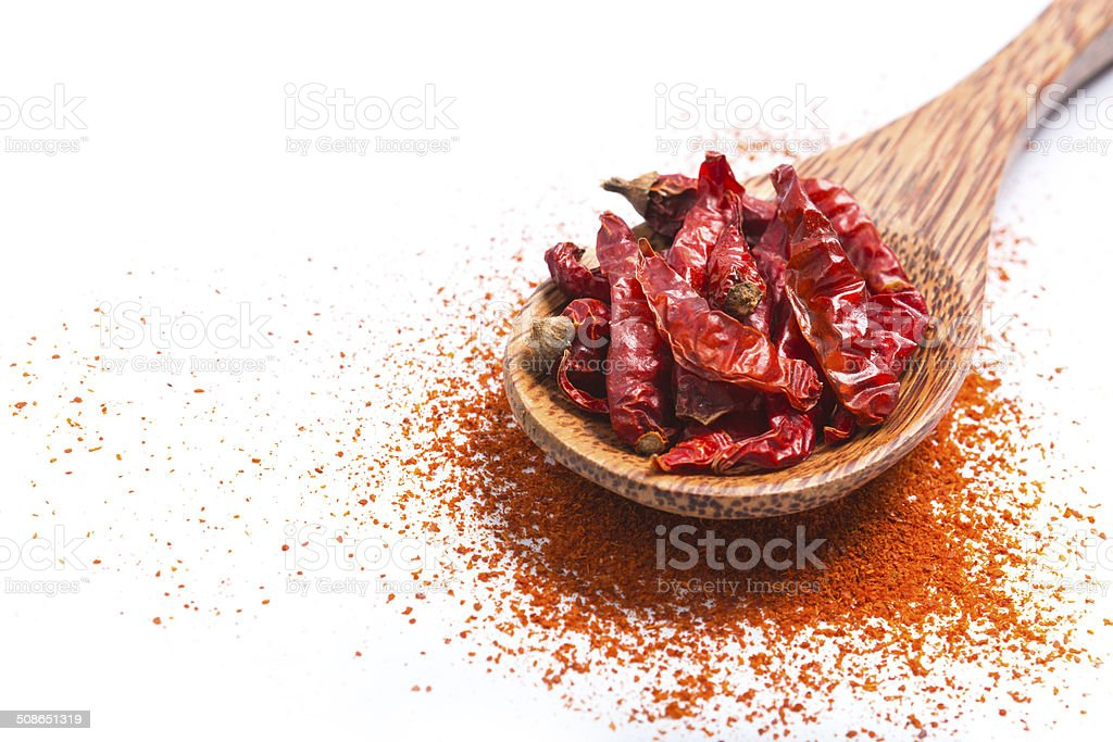 Spoon of dry chili isolated on white stock photo