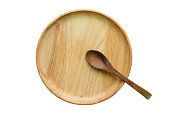 Spoon on wood plate, top view