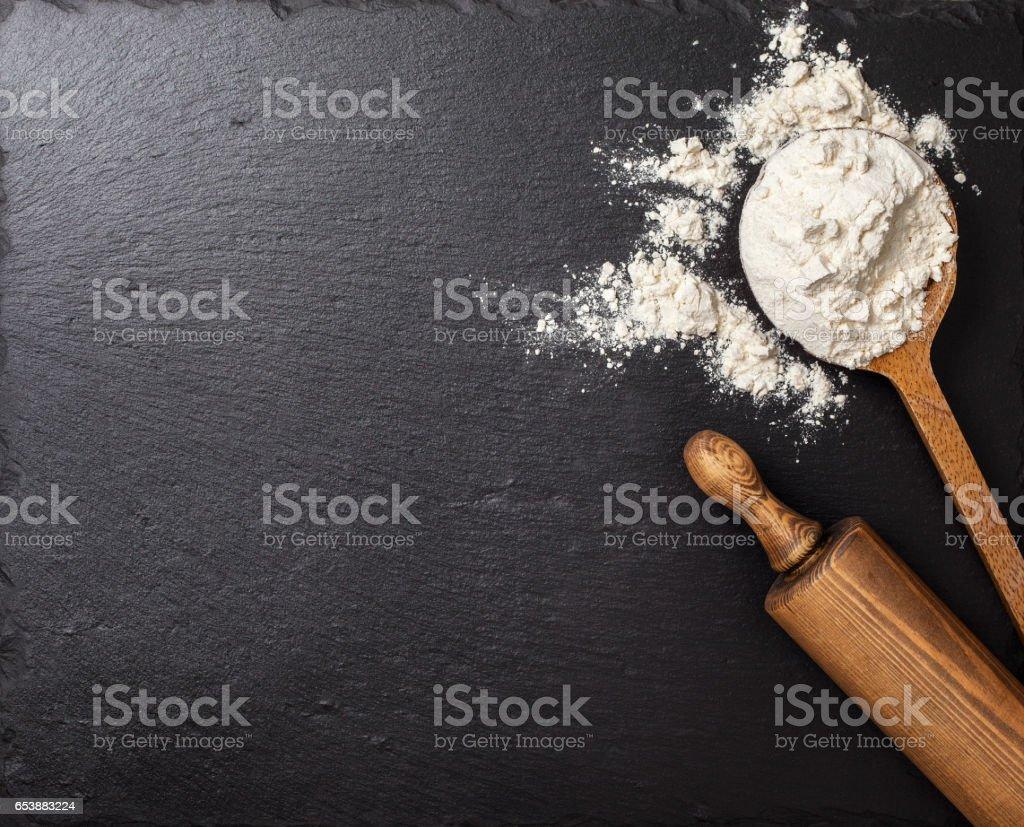 spoon with flour stock photo