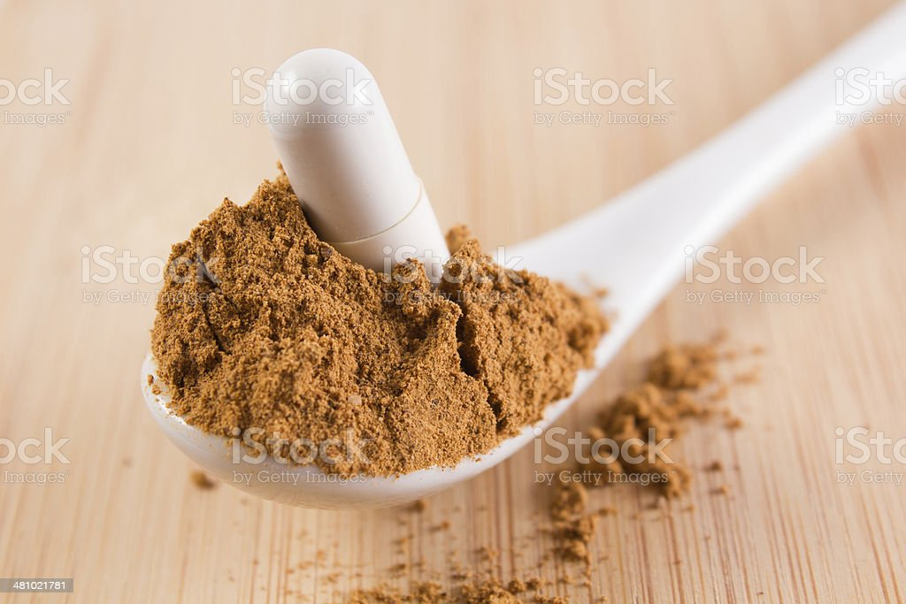 spoon with guarana and a tablet royalty-free stock photo