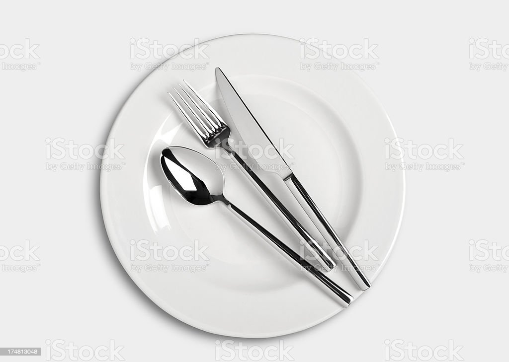 Spoon,fork and Table knife on dinner plate stock photo