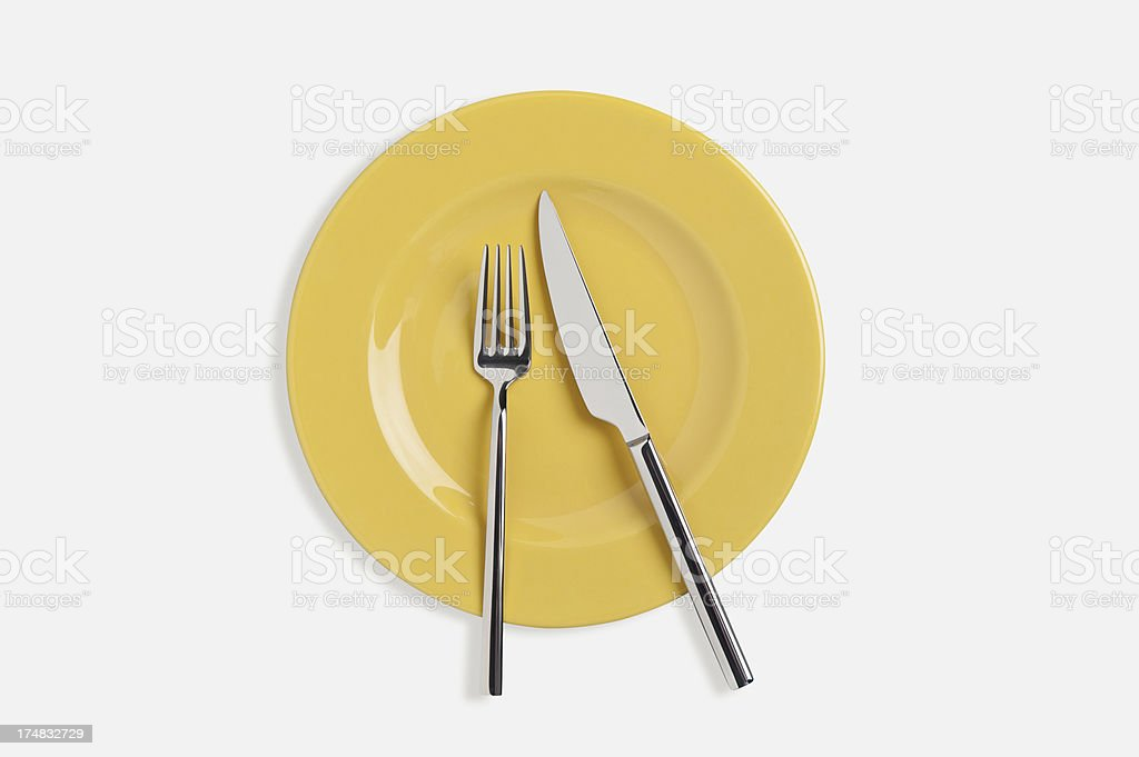 Spoon,fork and Table knife on dinner plate royalty-free stock photo