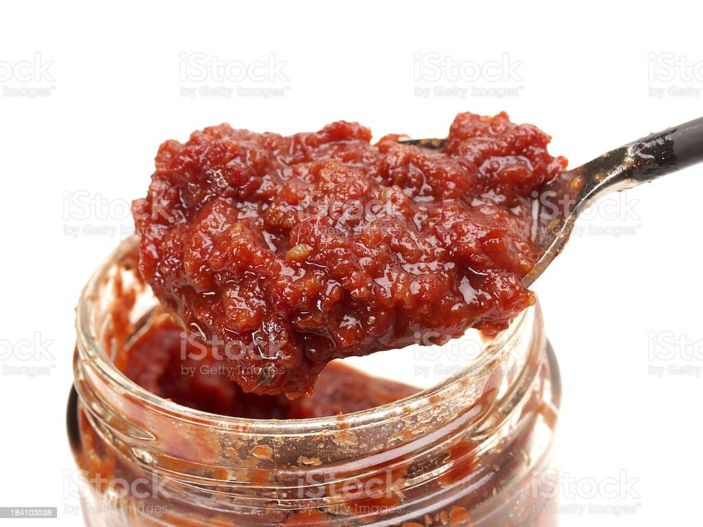 Spoonful of Harissa Sauce royalty-free stock photo