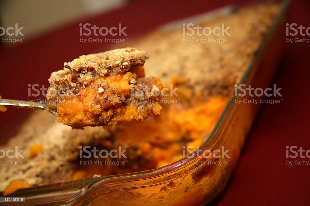 A spoonful of homemade sweet potato crunch stock photo