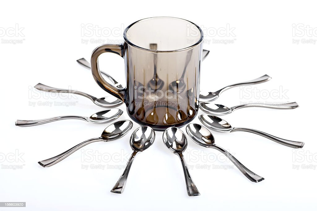 Spoons and a cup royalty-free stock photo