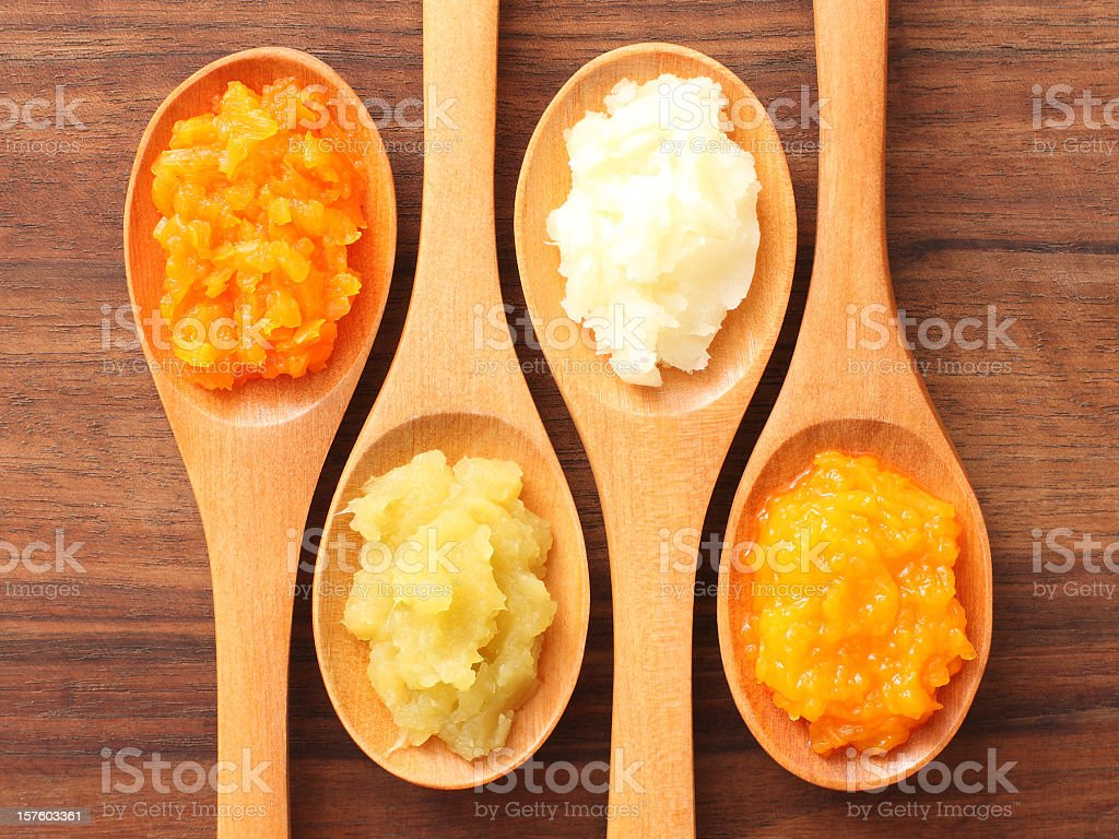 Spoons and purees stock photo