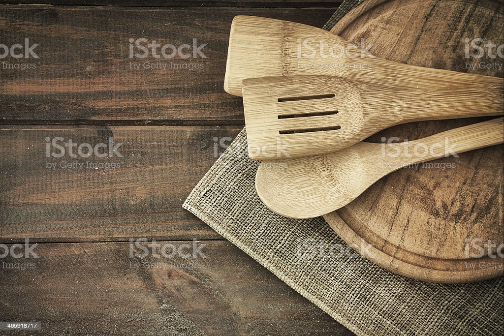 Spoons on the wood table stock photo
