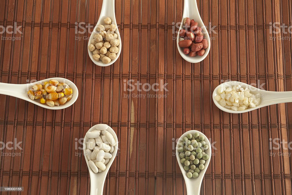 spoons with beans royalty-free stock photo