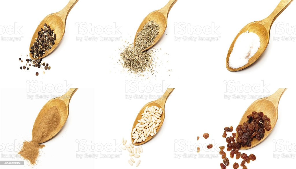 spoons with different ingredients royalty-free stock photo