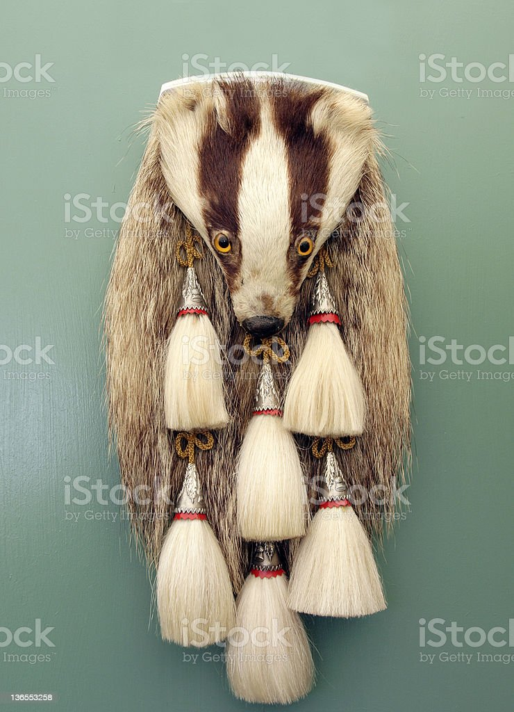 Sporran with five tassels and an animal's head stock photo