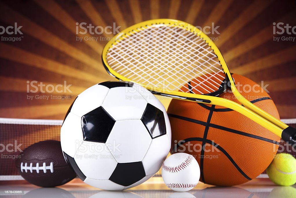 Sport, a lot of balls and stuff royalty-free stock photo