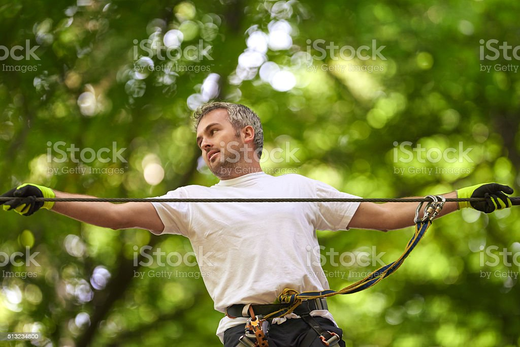 sport activities in adventure park stock photo