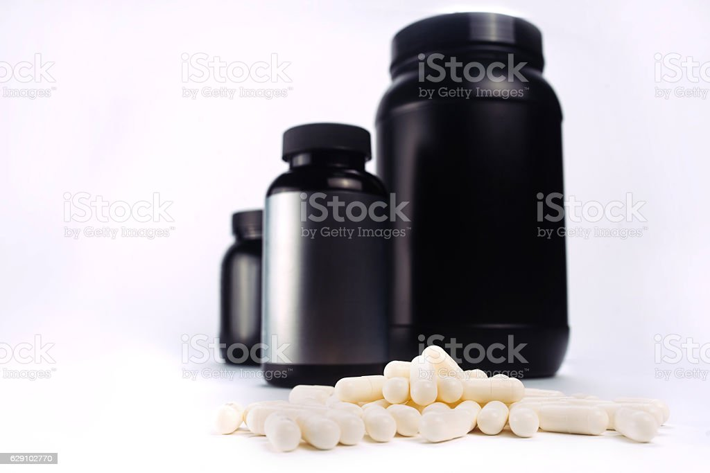 Sport and fitness supplements stock photo