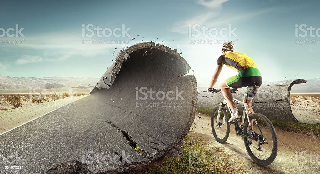 Sport background. Unreal mountain bike stock photo