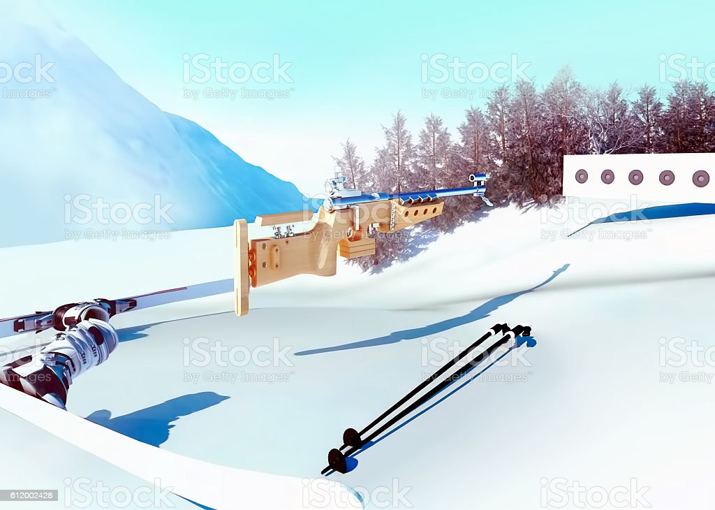 Sport background  with biathlon. stock photo