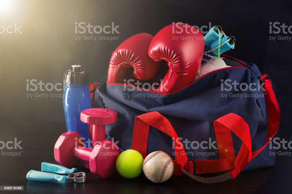 Sport bag for packing your exercise item stock photo
