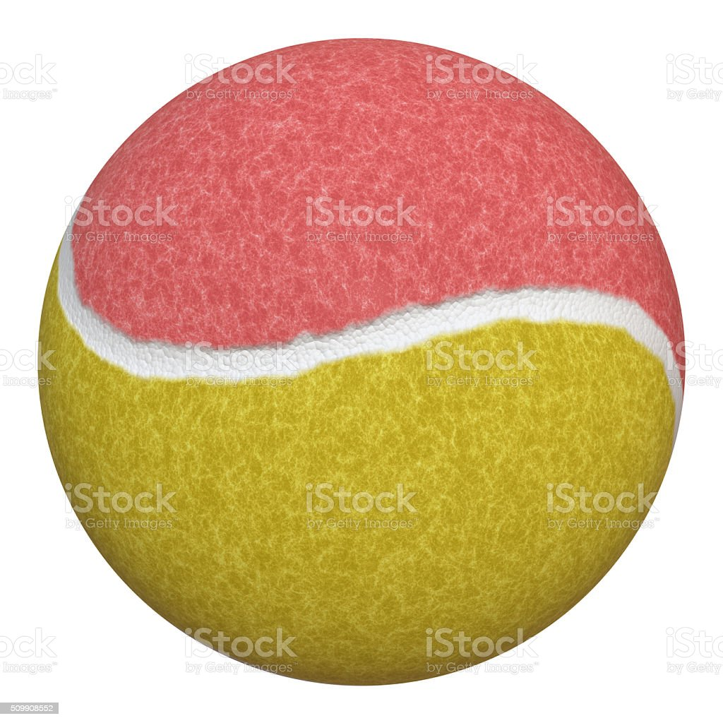 New and unused tennis ball with yellow and red felt. Good for clean...