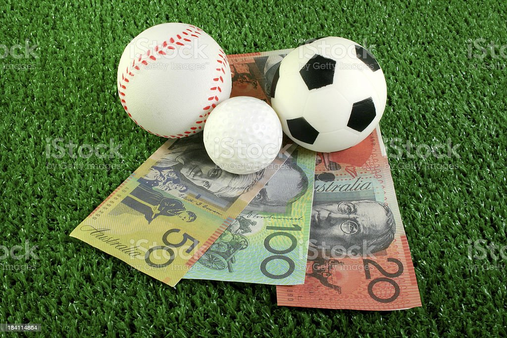 sport balls and money royalty-free stock photo