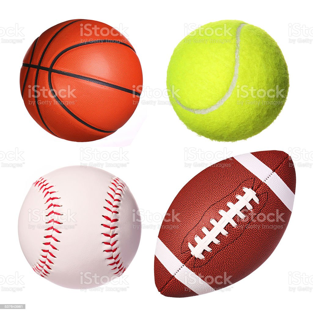 Sport balls collection isolated stock photo