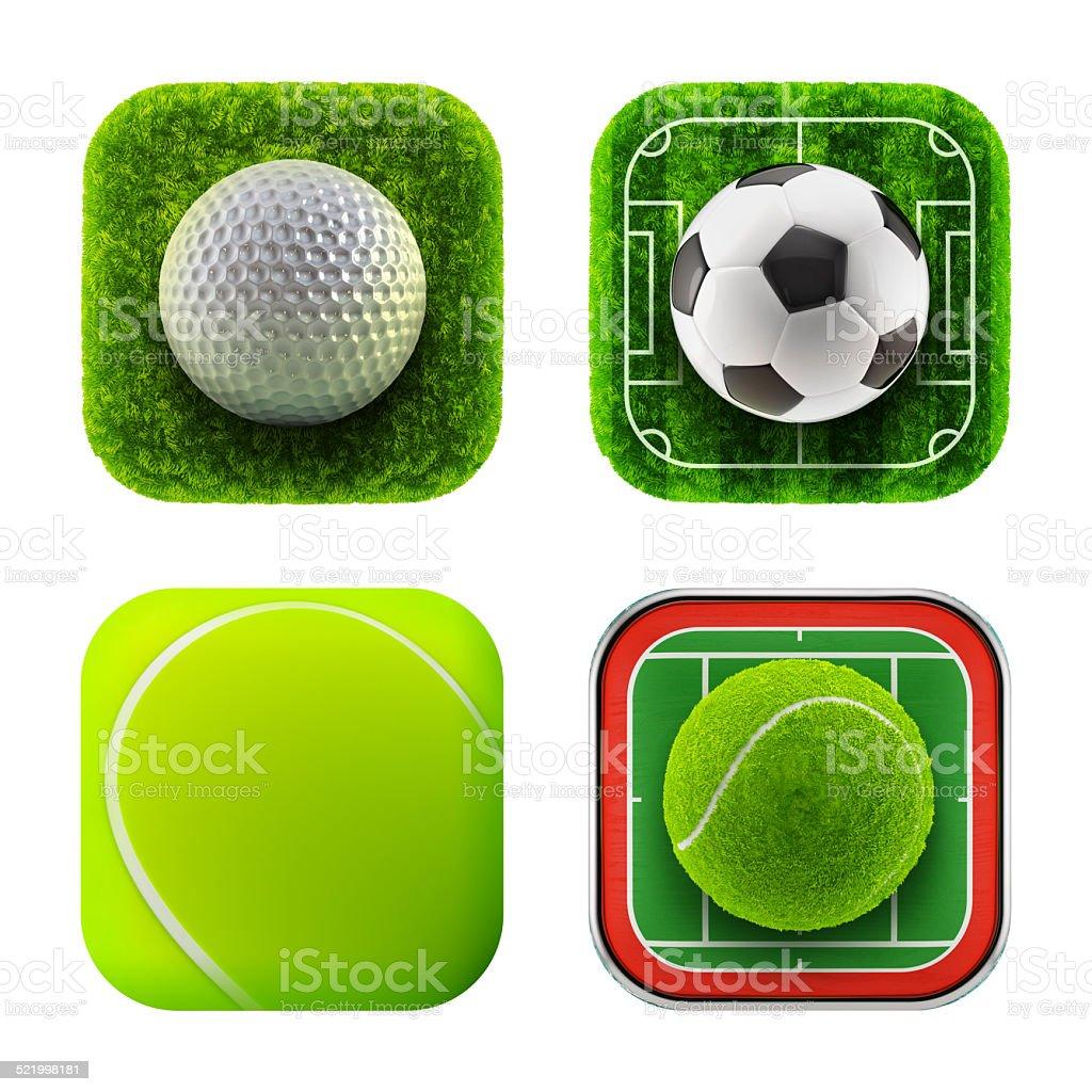 Sport balls icons stock photo