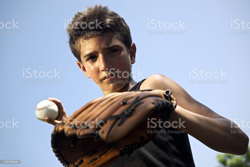 Sport, baseball and kids, portrait of child throwing ball royalty-free stock photo