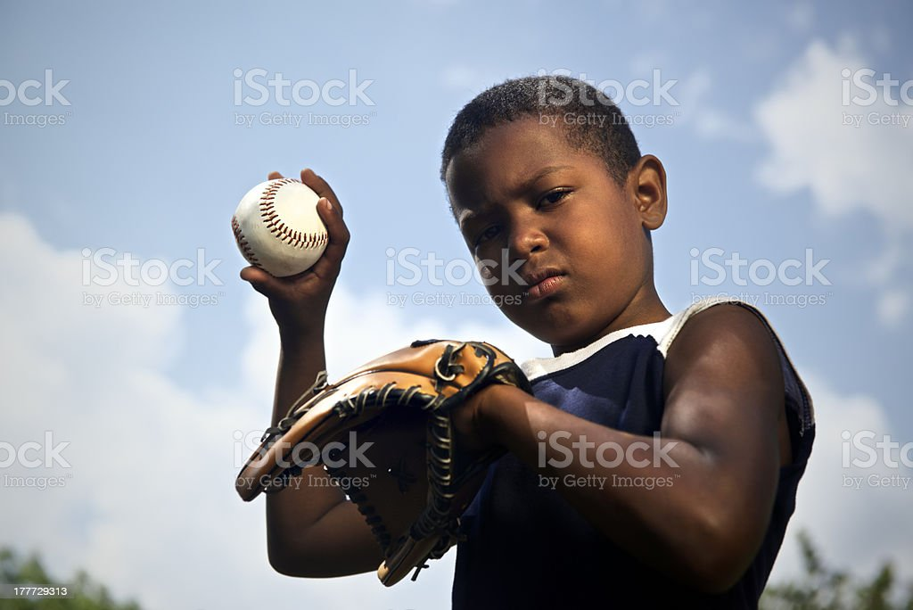 Sport, baseball and kids, portrait of child with glove holding ball...