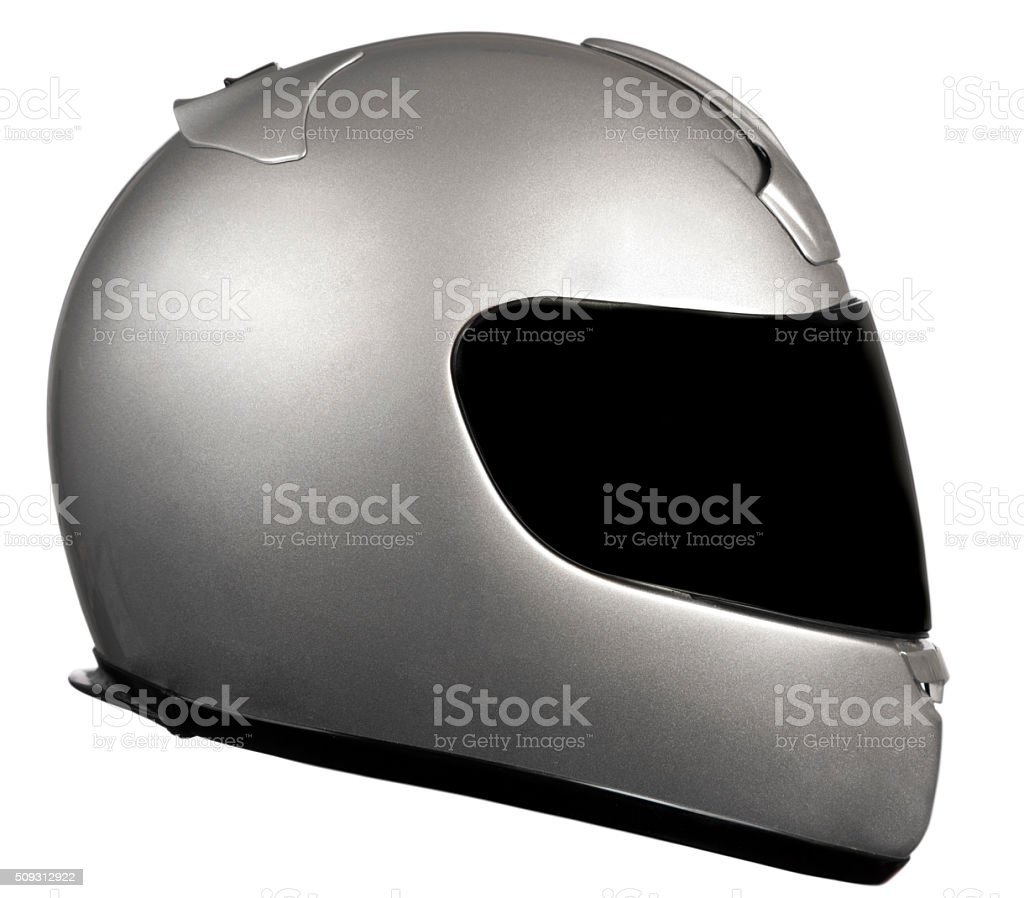 Sport bike motorcycle helmet  side view, copy space, clipping path stock photo