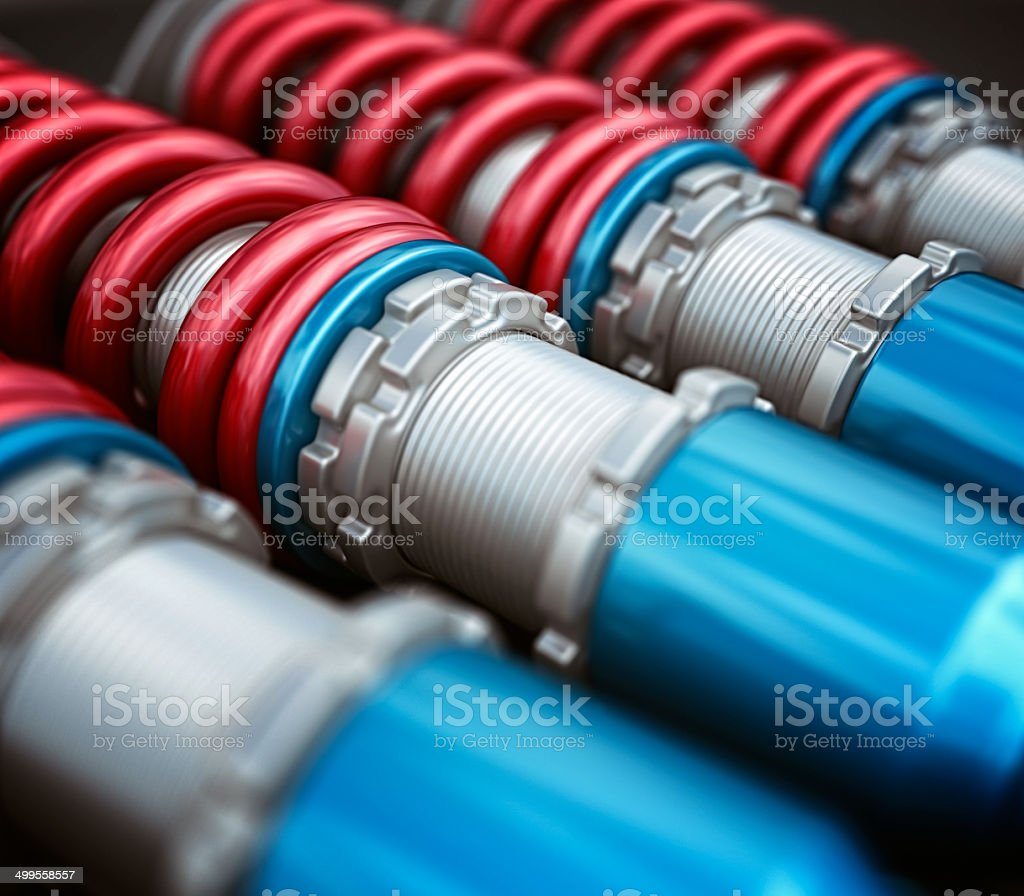 sport car coilovers stock photo