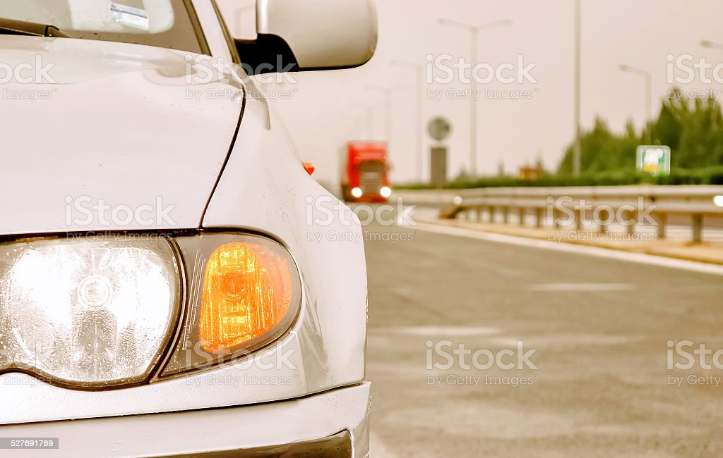 Sport car on a highway stock photo