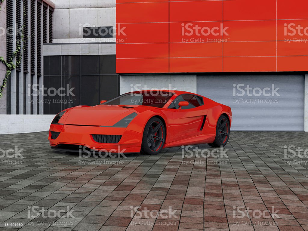 Sport car parking in front of a house stock photo