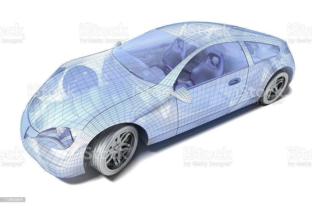 Sport Car Wireframe royalty-free stock photo