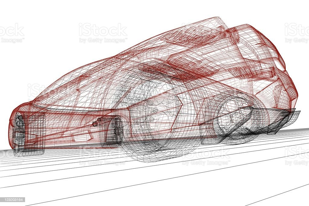 Sport car wireframe render royalty-free stock photo