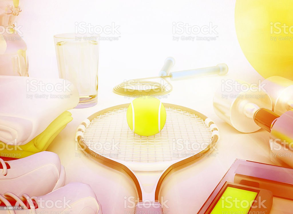 Sport concept with water, towels, sneakers, tennis racket, tenni stock photo