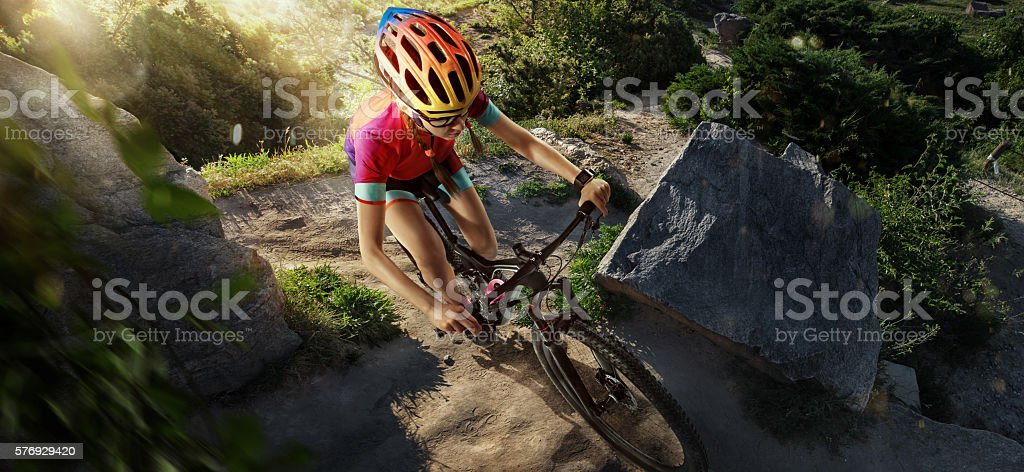 Sport. Country cyclist. Top view stock photo