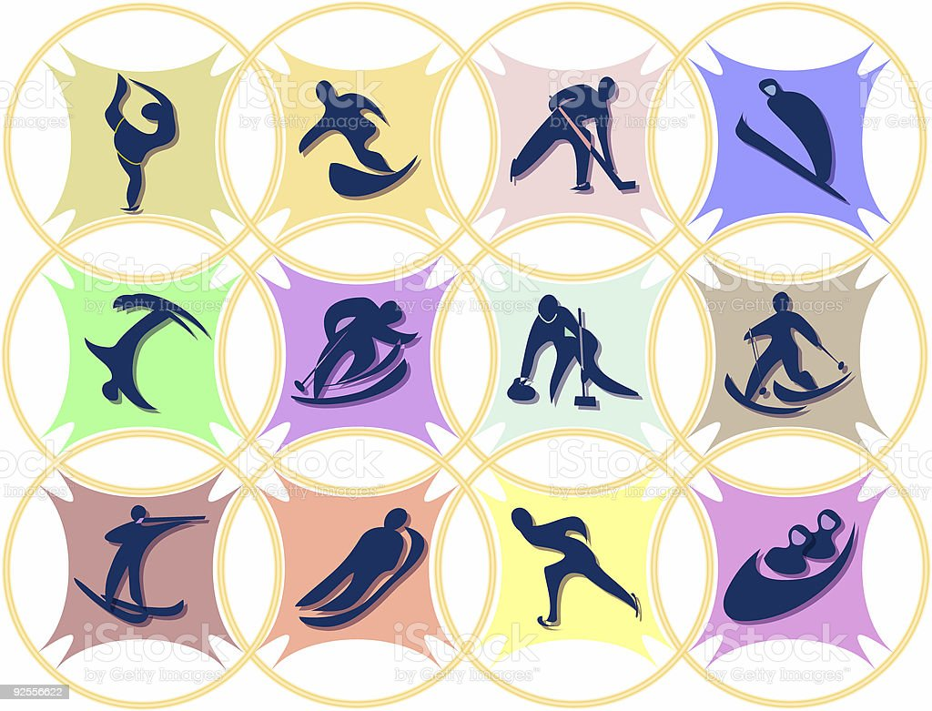 sport emblems (winter olympic games) stock photo